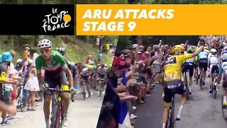 aru attacks while froome has a mechanical problem stage 9 tour de france 2017