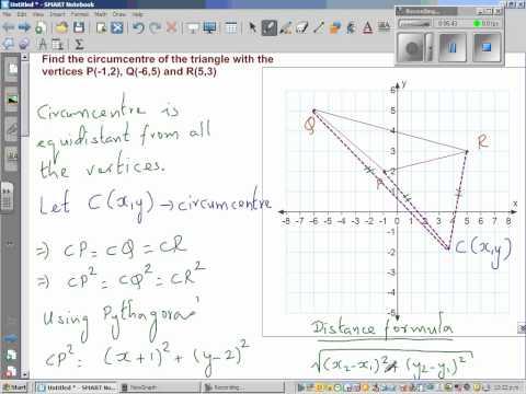 Using Algebra to find the circumcentre of a triangle