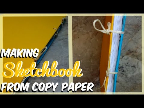 Making a  DIY sketchbook from copy paper.
