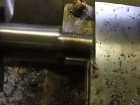 cutting threads on muzzle of barrel on the lathe.AVI
