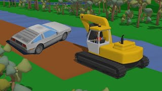 Mountain Freight Train and Truck Delivery of the ordered delorean Baby Animation Stories | Vehicles