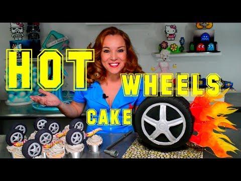 HOT WHEELS MUD CAKE W/ LIGHTS & MINI WHEELS FOR CUPCAKES   BY VERUSCA WALKER