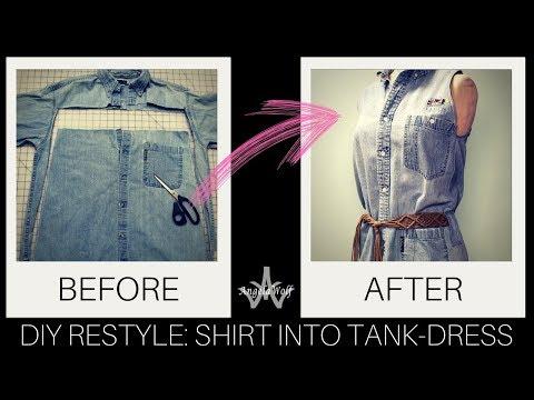 DIY: Restyle Jean Shirts into Shirtdress & Sew a Shirt dress Sewalong (Part 1) | Angela Wolf