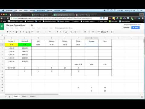 Google Sheets Video #1 Add, Subtract, Multiply, Divide, Average and Sum