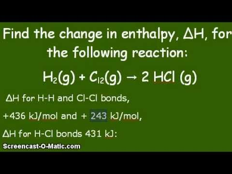 Video - Given the enthalpies of reactants and products, find change in enthalpy ΔH, for a reaction