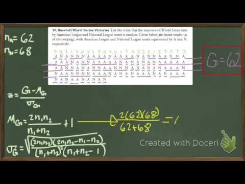runs test for random second example 1