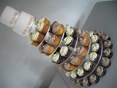 Wedding Cupcake Cake With Mini 2 Tier Top Cake