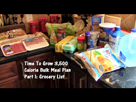 Time To Grow 3,500 Calorie Bulk Meal Plan Part 1: Grocery List