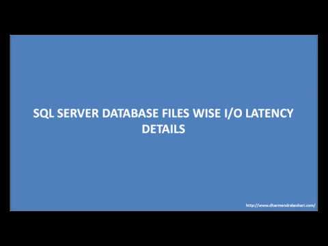 SQL SERVER DATABASE FILES WISE IO LATENCY DETAILS