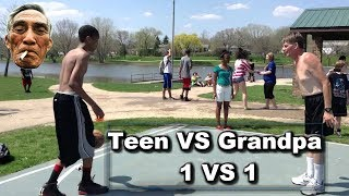 TEEN LOSES TO OLD GRANDPA IN BASKETBALL? :: 1 VS 1 BASKETBALL!