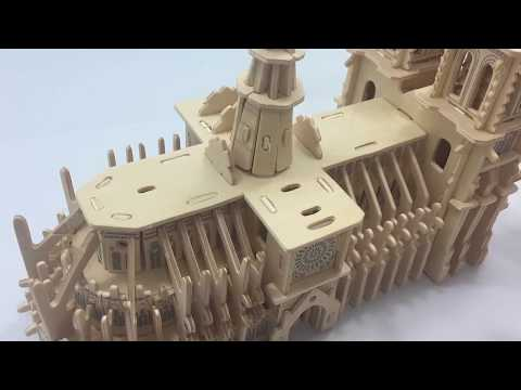 3D Wooden Puzzle DIY Assembled, How to make a wooden Notre Dame Cathedral