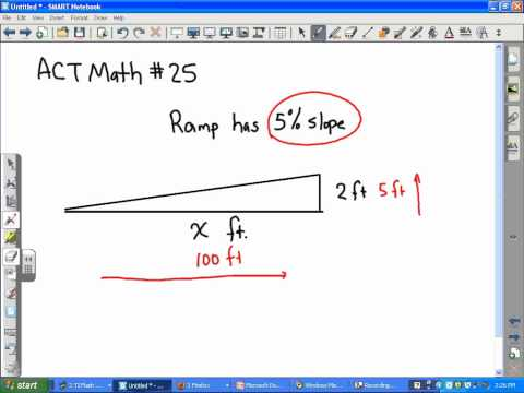 ACT Math:  Slope, ramp problem