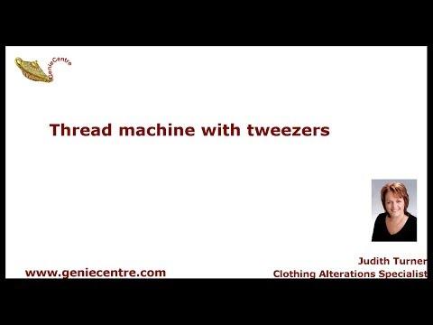 Thread sewing machine needle with tweezers