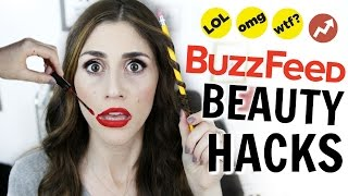 WEIRD BuzzFeed Beauty Hacks Tested -  [ But First, Coffee ]