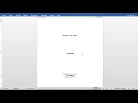 Formatting the Cover Page