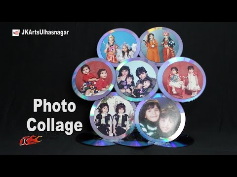 How to Make a CD Photo Frame Collage | Best out of waste from DVD | JK Arts 1122