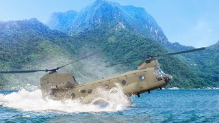 Massive US Helicopter Lands on Water During Special Forces Operation