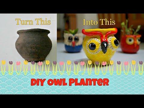 DIY Owl Planter| DIY Decorative Pots