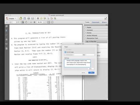 acrobat - tiff to pdf, recognize text