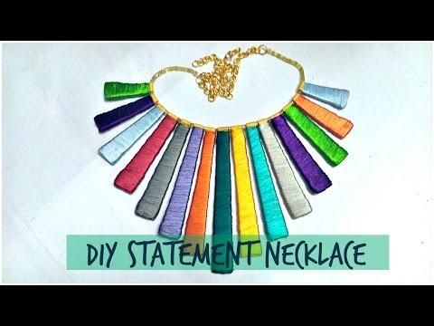 how to make Silk thread statement necklace || DIY statement necklace || || silk thread jewelery ||