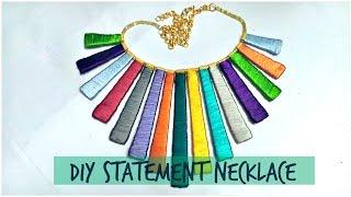 how to make Silk thread statement necklace    DIY statement necklace       silk thread jewelery   