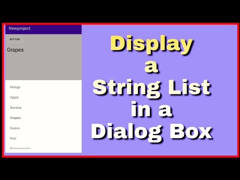 Display a List in Dialog Box