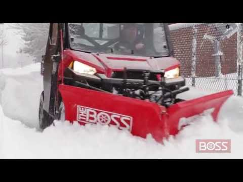 BOSS UTV Power-V XT Plow In Action