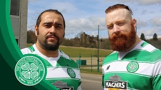 Celtic FC - WWE stars Rusev and Sheamus at Lennoxtown