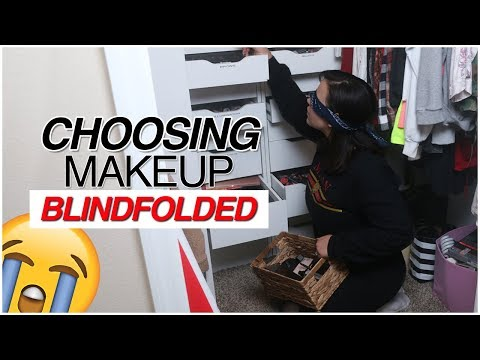 PICKING A FULL FACE OF MAKEUP BLINDFOLDED CHALLENGE! | MakeupByAmarie