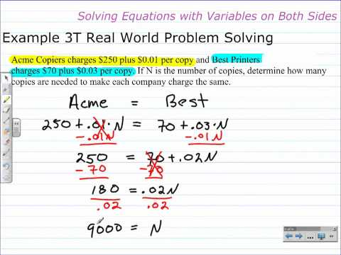 Unit 1 Lesson Topic 6 - Part 2 - Solving Equations with Variables on Both Sides