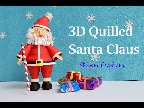 3D Quilled Santa Claus/ Christmas Decoration/ Quilling Dolls