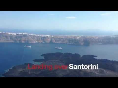 Landing at Santorini airport - Amazing view