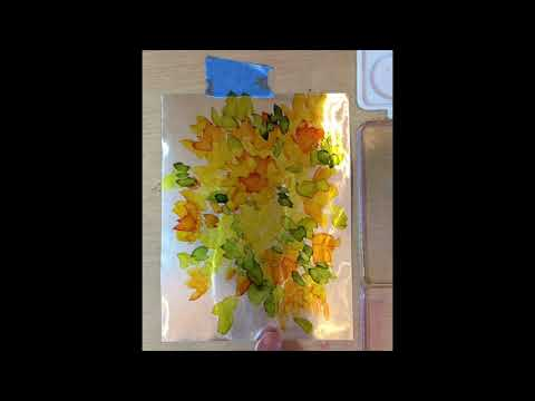 Alcohol Ink Flower Painting on Foil