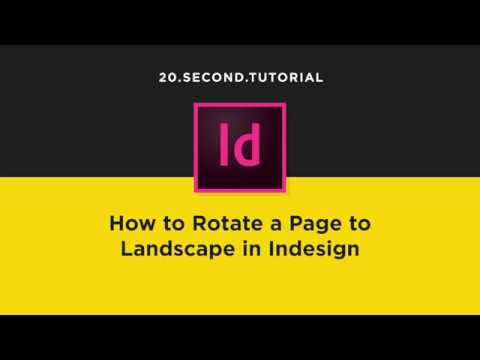 Rotate Page to Landscape in Indesign | Adobe InDesign Tutorial #8