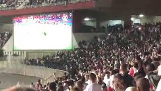 جنون الجماهير الجزائرية داخل ملعب 5 جويلية لحظة تسجيل رياض محرز لهدف التأهل أمام نيجيريا