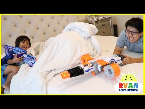 Ryan and Daddy Nerf Toys Challenge!
