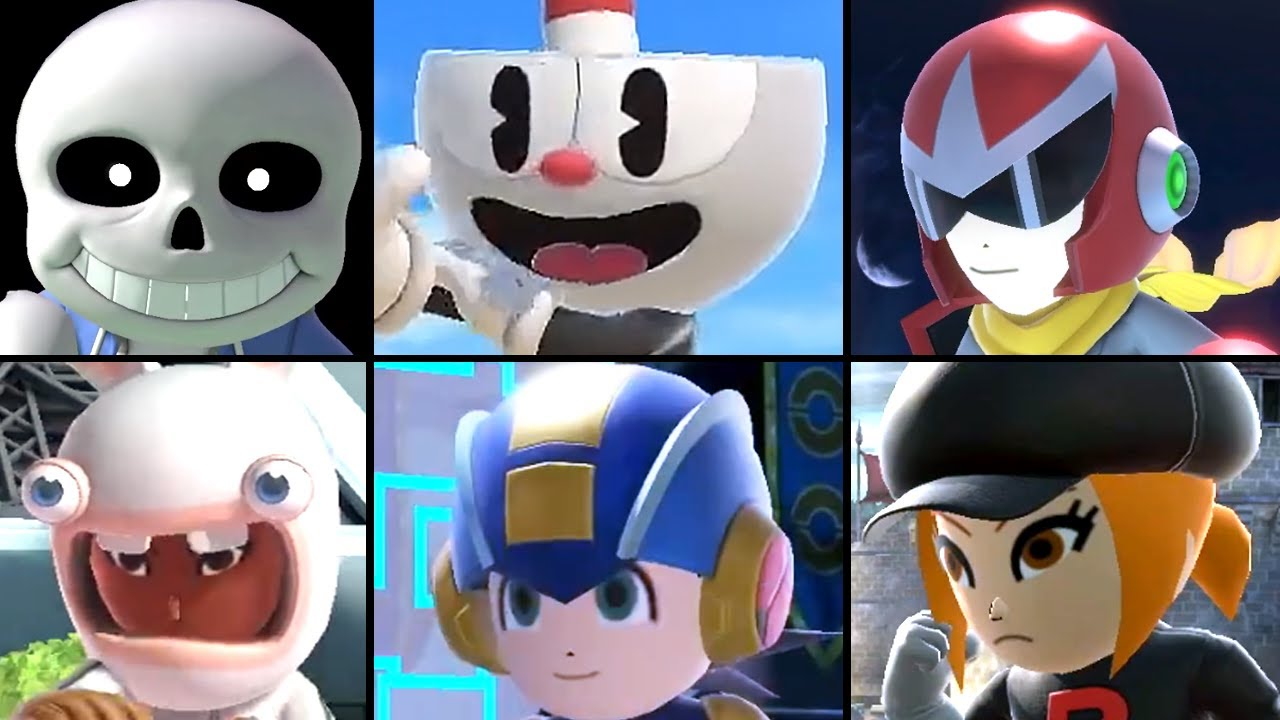 Super Smash Bros Ultimate All Mii Fighter Reveal Trailers (Sans, Cuphead Mii Costumes + More) 2020
