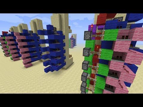 Minecraft 6x7 Piston Elevator Up+Down [Advanced Redstone Tutorials]
