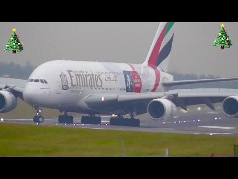 Plane Spotting at Birmingham intl Airport inc.*Emirates A380 Landing & Takeoff*✈🎄✈