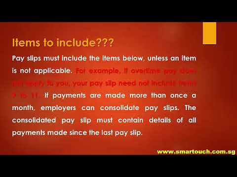 Payslip from Payroll Singapore : Employment Act - Itemised Pay Slips