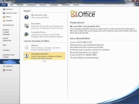 Microsoft Word 2010 Die Produkt ID für das Office Programm finden