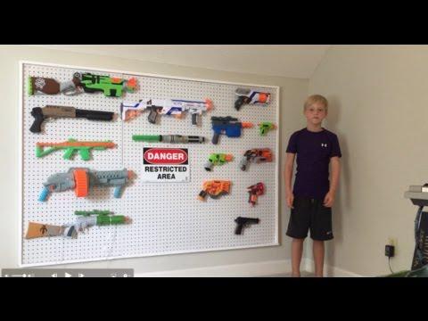 Nerf Gun Storage on Pegboard DIY