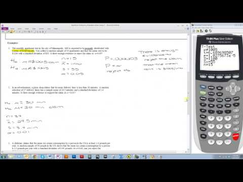 Hypothesis Testing for a Mean Using a TI-84 (ZTest and TTest)