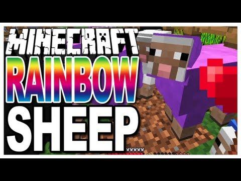 Minecraft - Rainbow Sheep - Growing Coloured/Colored Wool on Sheep