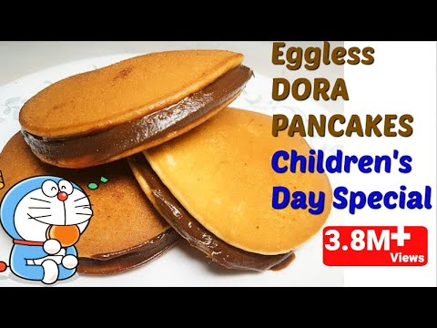 🍩3min में बनाये डोरा पैनकेक/ Eggless DORA PANCAKES Recipe in hindi-/How to make Dora Cakes/Pancakes