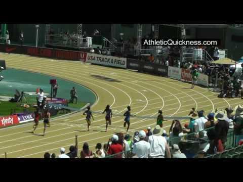 2017 USATF 200m womens final. Deajah Stevens 22.30. June 25. Sacramento California