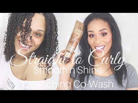 Straight To Curly Hair with Smooth'n Shine Quenching Cowash Tia Kirby