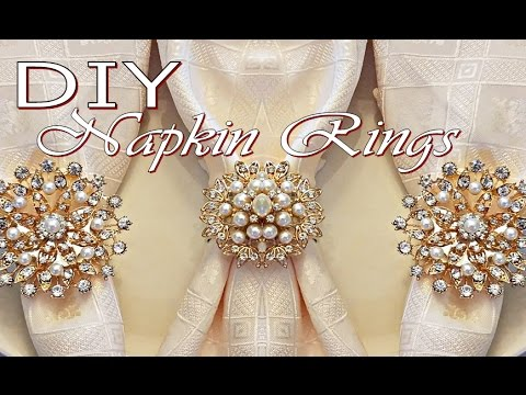 DIY Tutorial Napkin Rings (Dollar Tree Napkin Holders and Totally Dazzled Brooches)