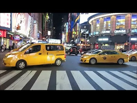 NEW YORK'S 42ND STREET AT NIGHT / BROOKLYN BRIDGE