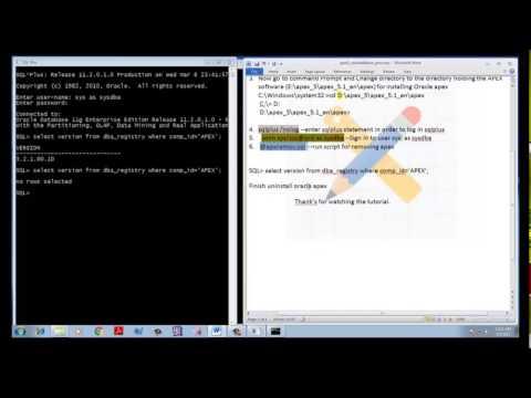 Uninstall Oracle Apex || Apex Uninstall